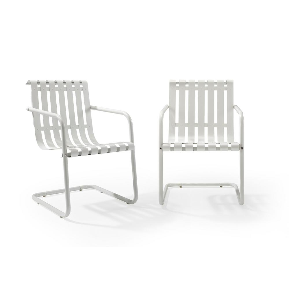 Crosley Gracie White Metal Outdoor Chair (Set of 2)
