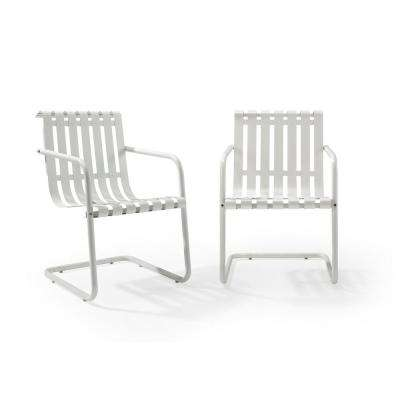 Gracie White Metal Outdoor Chair Set Of 2