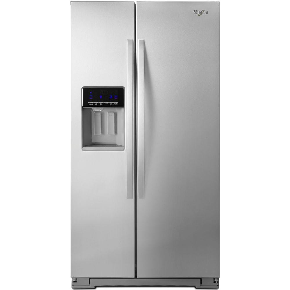 Home depot counter depth refrigerator - Side By Side Refrigerator In Monochromatic Stainless Steel Counter Depth Wrs571cidm The Home Depot
