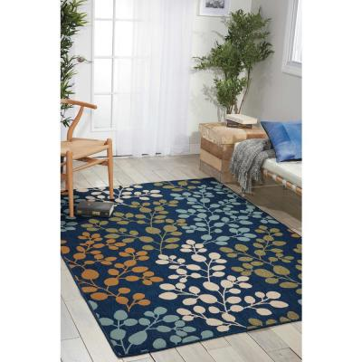 Caribbean Navy 5 ft. x 7 ft. Floral Contemporary Indoor/Outdoor Area Rug