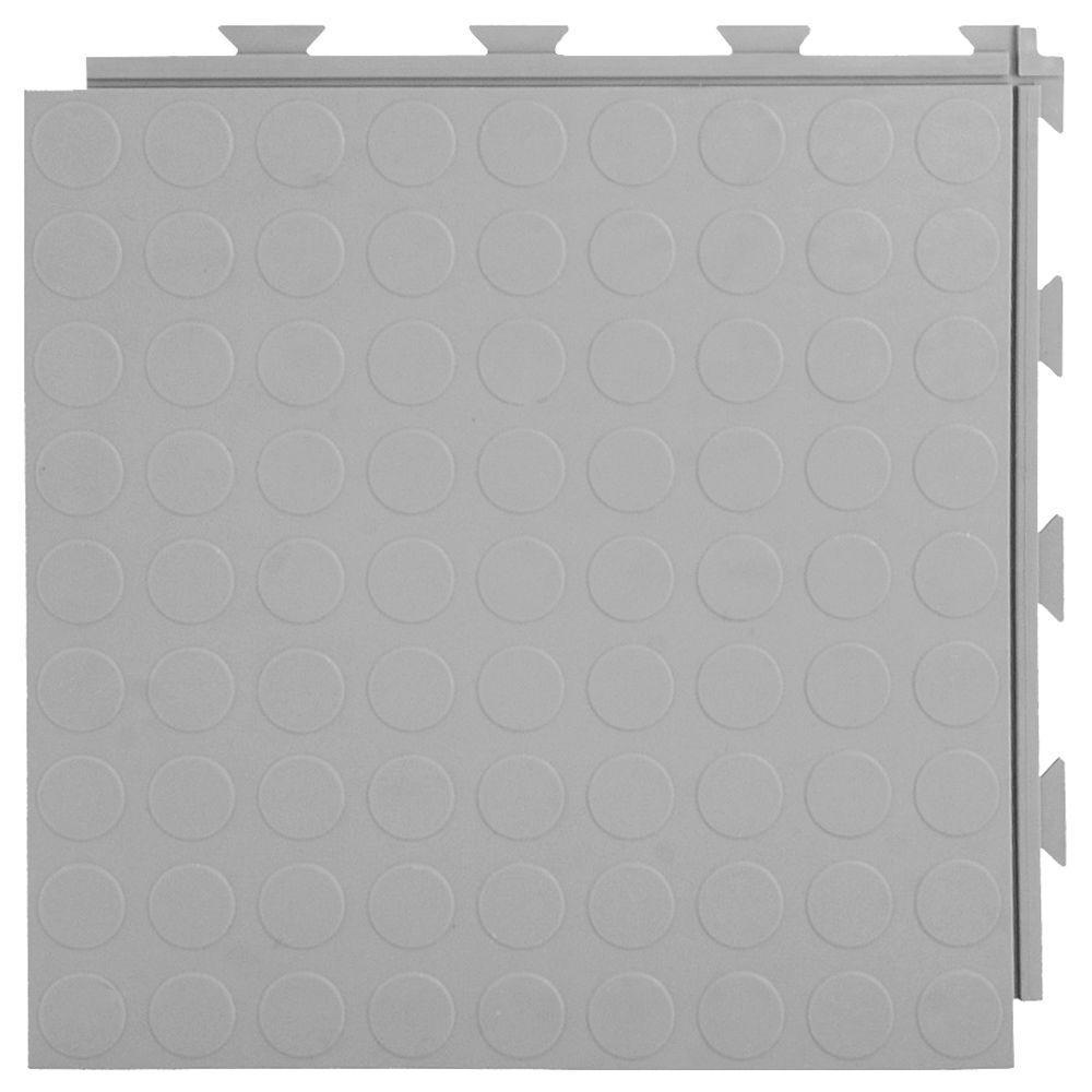 Hiddenlock Coin Top 1 ft. x 1 ft. x 1/4 in. Gray PVC Plastic Interlocking Garage Floor Tile (Case of 20)