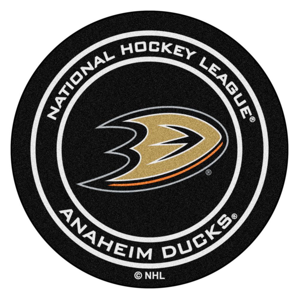 Anaheim Ducks Black 27 in. Round Hockey Puck Mat