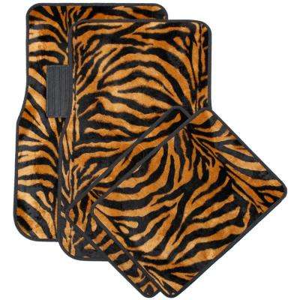 Zebra Orange and Black 4-Piece Heavy-Duty 26.5 in. x 17.25 in. Rubber Floor Mats