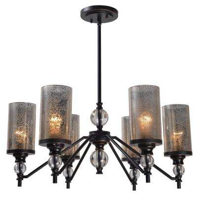 Chloe 6-Light Bronze Chandelier with Mercury Glass Shade