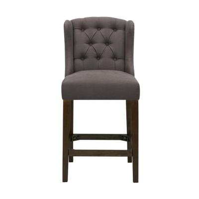 Belcrest Sable Brown Wood Upholstered Counter Stool with Back and Charcoal Gray Seat (20.08 in. W x 40.16 in. H)