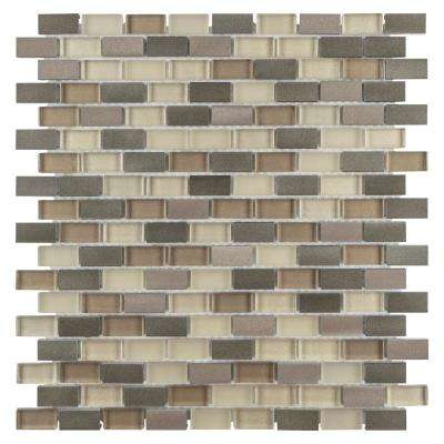 Fusion Mini Subway Amador 11-1/4 in. x 12 in. x 6 mm Brushed Aluminum and Glass Mosaic Tile