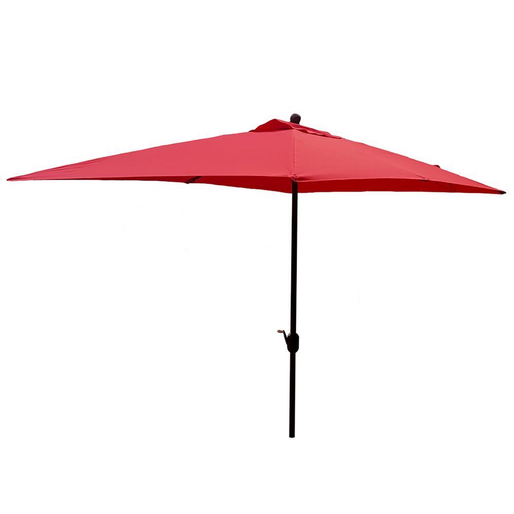 10 ft. Powder-Coated Rust-Free Aluminum Crank Market Outdoor Patio Umbrella in Red