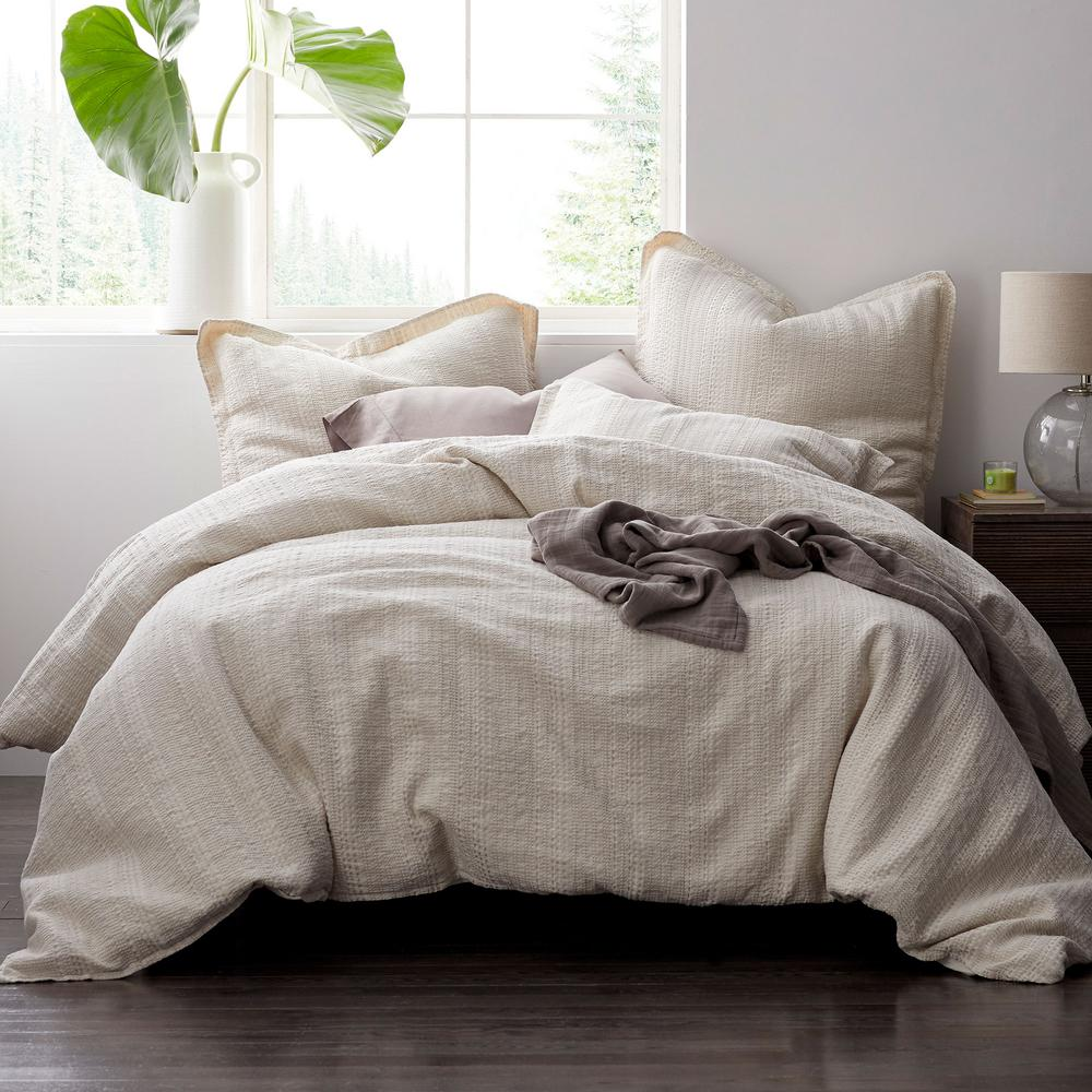 Interwoven Natural Solid Cotton Blend Full Duvet Cover