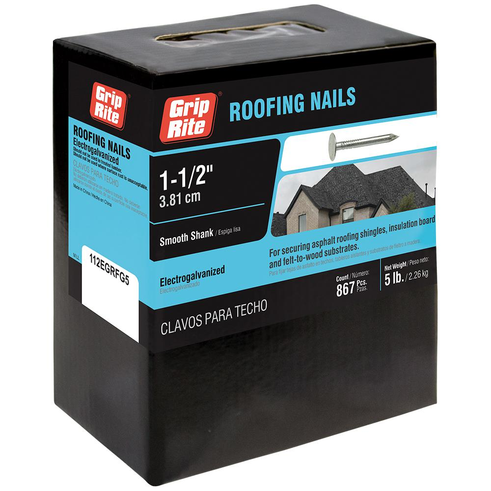 Grip Rite 11 X 1 1 2 In Electro Galvanized Steel Roofing Nails 5 Lb Pack 112egrfg5 The Home Depot