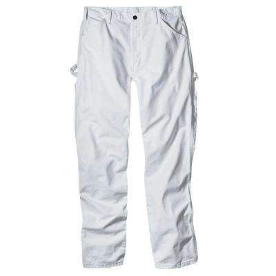 Men's Relaxed Fit 44 in. x 30 in. White Painters Pant