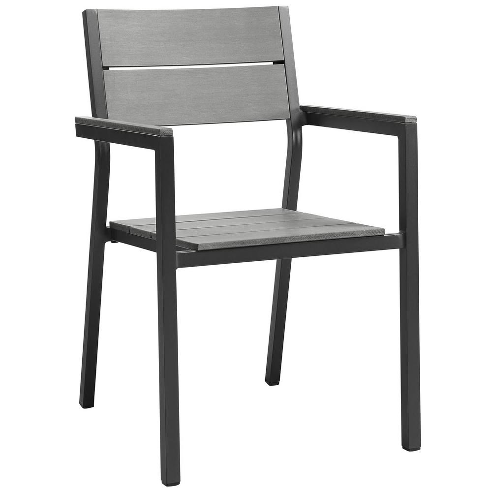 Maine Brown Aluminum Outdoor Patio Dining Chair in Gray