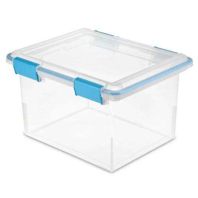 32 Qt. 18.5-in L x 14.8-in W x 11.1-in H Clear Gasket Box with Clear Plastic Base and Lid (12-Pack)