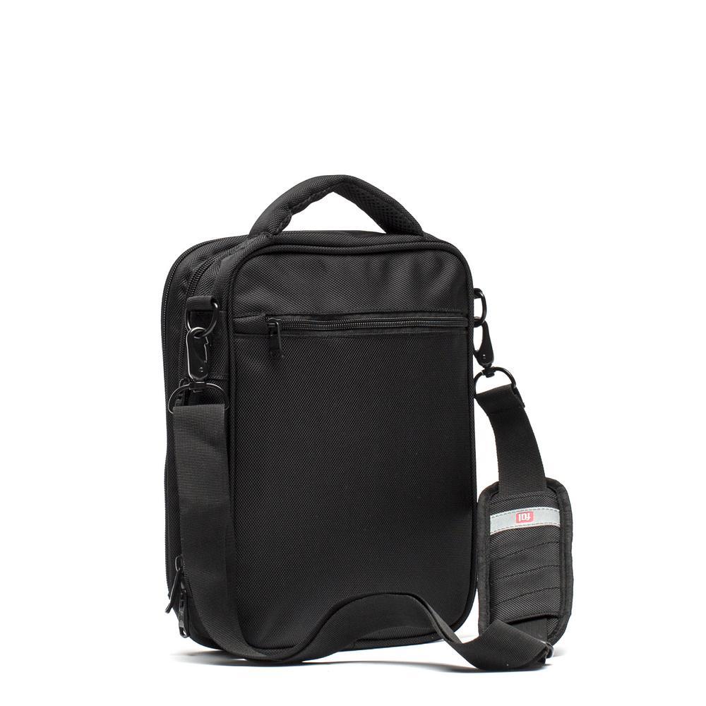 Black Unisex Sidecar Shoulder Messenger Bag, Front 10 in. x 8.25 in. Tablet/E-Reader Compartment
