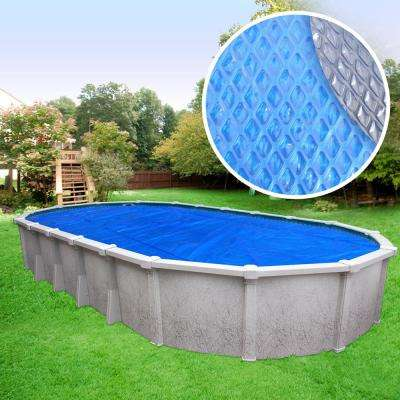 Heavy-Duty Space Age Diamond 5-Year 12 ft. x 24 ft. Oval Blue/Silver Solar Cover Pool Blanket