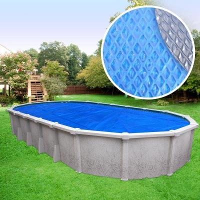Extra Heavy-Duty Space Age Diamond 10-Year 18 ft. x 33 ft. Oval Blue/Silver Solar Cover Pool Blanket