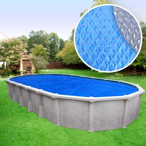 Crystal Blue Heavy-Duty Space Age Diamond 5-Year 18 ft. x 33 ft. Oval Blue/Silver Solar Pool Cover