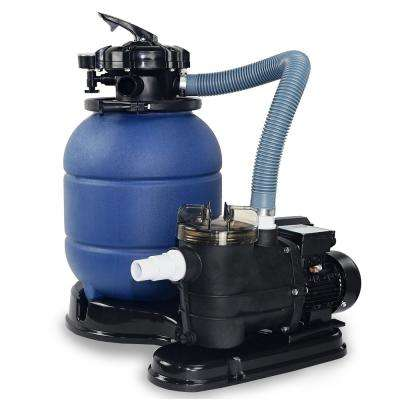 2400 GPH 13 in. 1.25 sq. ft. Sand Pool Filter 4-Way Valve System Combo with 3/4 HP Above-Ground Pool Pump and Stand