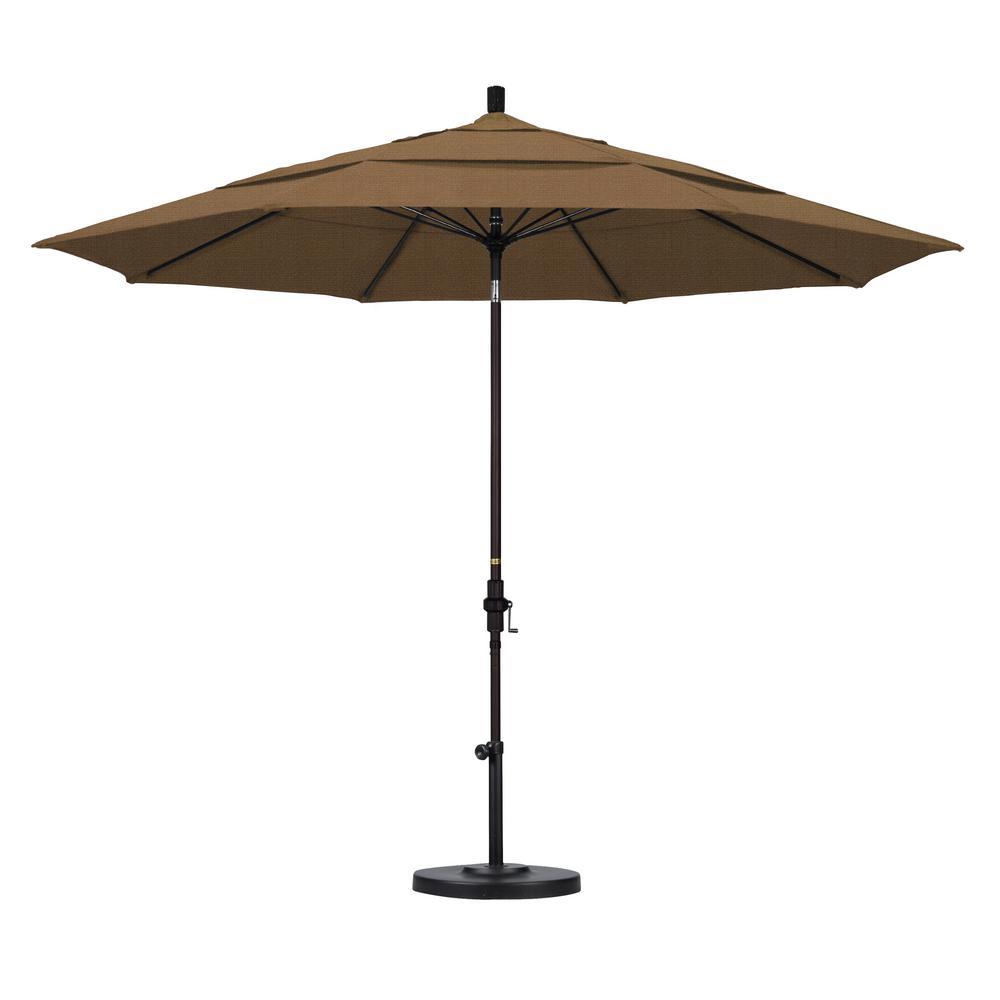 Superbe 11 Ft. Fiberglass Collar Tilt Double Vented Patio Umbrella In Sesame Olefin