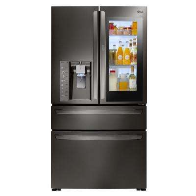 23 cu  ft  4-Door French Door Smart Refrigerator with InstaView  Door-in-Door in Black Stainless Steel, Counter Depth