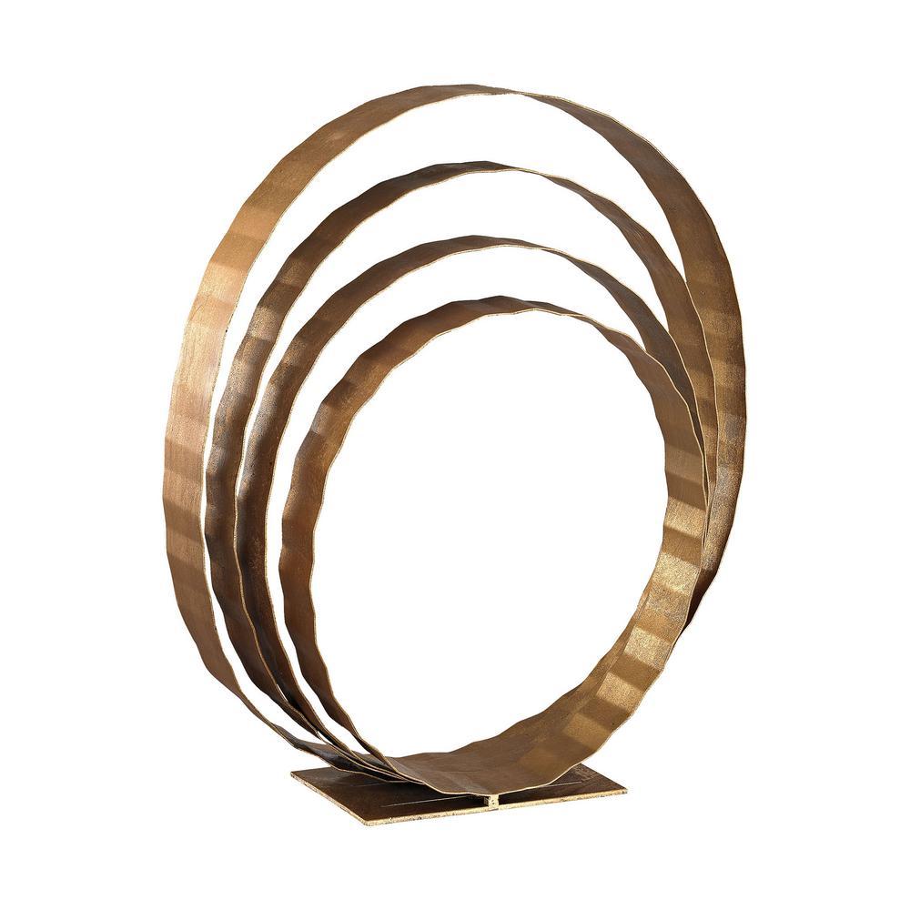 24 in. x 8 in. x 20 in. Concentric Rings Decorative Sculpture in Gold Leaf