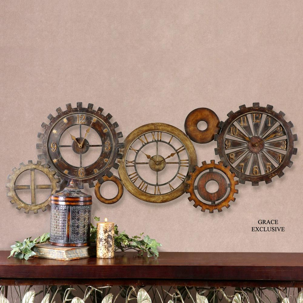 Global Direct 21 in. x 54 in. Mechanical Parts Wall Clock-06788 ...