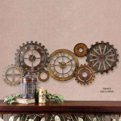 21 in. x 54 in. Mechanical Parts Wall Clock