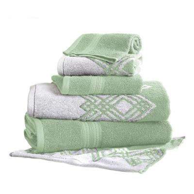 Popcorn Diamond 6-Piece Cotton Bath Towel Set in Sage