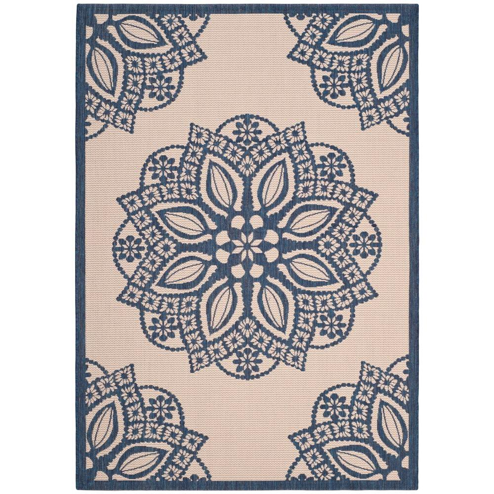 Courtyard Beige/Navy 9 ft. x 12 ft. Indoor/Outdoor Area Rug