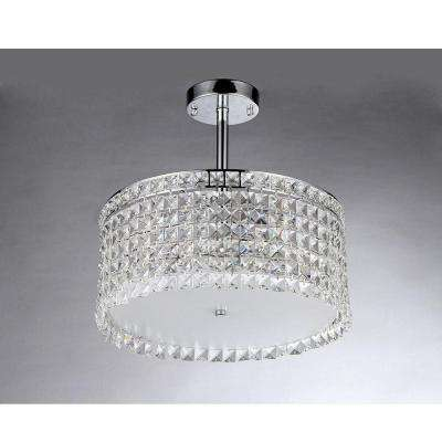 Garcia Crystal 4-Light Chrome Chandelier with Shade