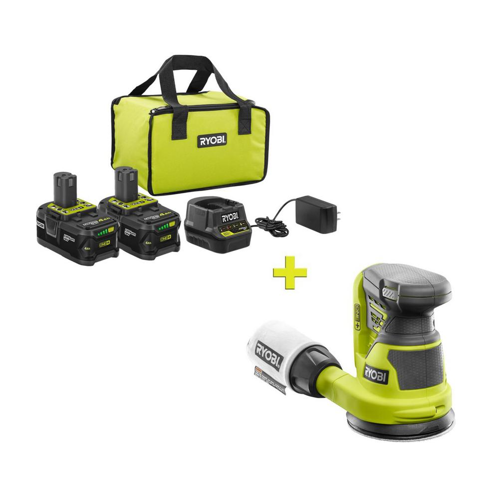 RYOBI 18-Volt ONE+ High Capacity 4.0 Ah Battery (2-Pack) Starter Kit with Charger and Bag w/ FREE ONE+ 5 Random Orbit Sander was $266.97 now $99.0 (63.0% off)