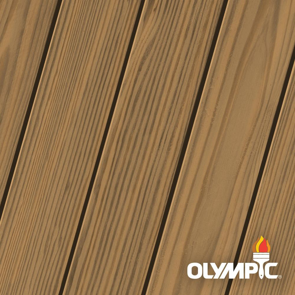 Olympic Elite 3 Gal. Rustic Cedar Semi-Solid Exterior Wood Stain and Sealant in One Low VOC