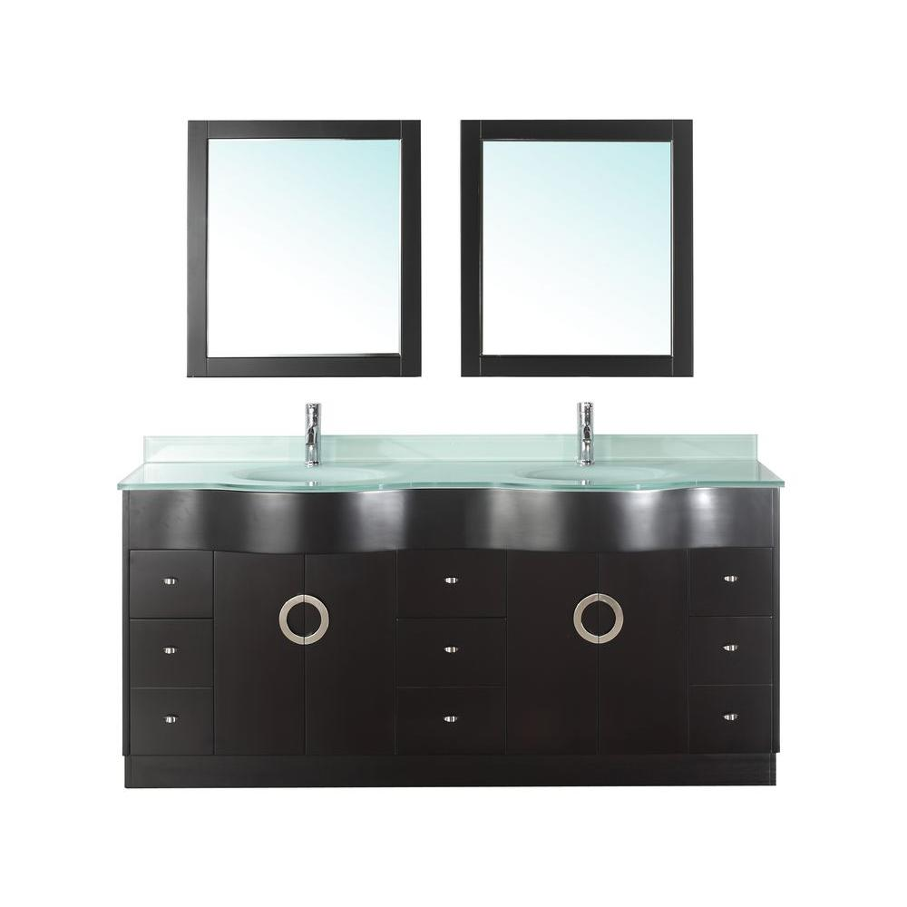 Studio Bathe Zoe 72 in. Vanity in Espresso with Glass Vanity Top in Mint and Mirror