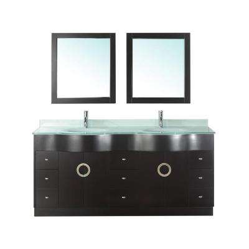 Zoe 72 in. Vanity in Espresso with Glass Vanity Top in Mint and Mirror