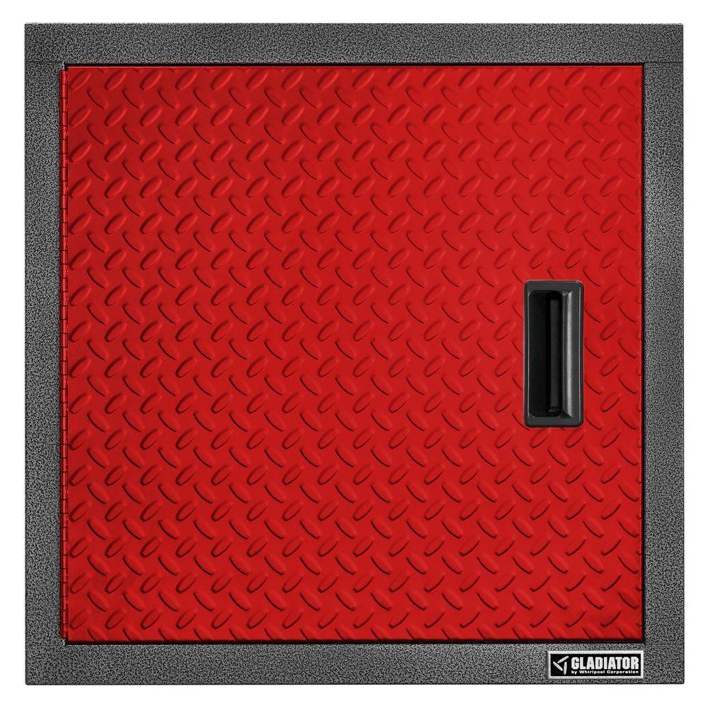 Premier Series Pre-Assembled 24 in. H x 24 in. W x 12 in. D Steel Garage Wall Cabinet in Red Tread