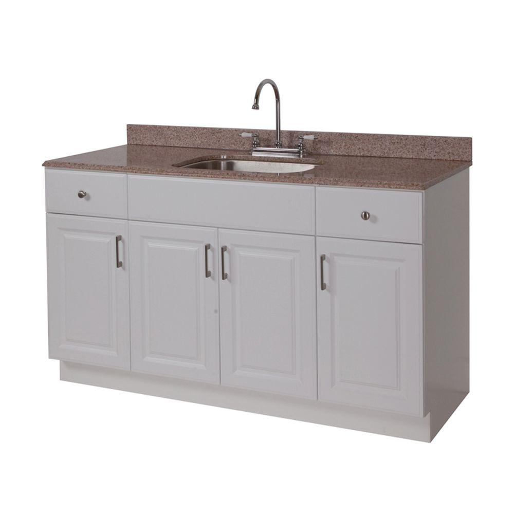 Ready Kitchen 60 in. Vanity in White with Stone Effects Vanity Top in Beige-DISCONTINUED