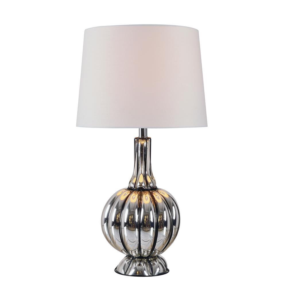 Kenroy Home Murdoch 29 in. Mercury Table Lamp with White Shade