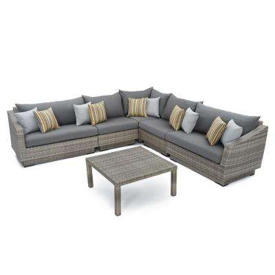 Cannes 6-Piece Patio Corner Sectional Set with Charcoal Grey Cushions
