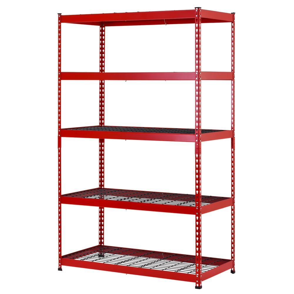 Husky 48 in. W x 78 in. H x 24 in. D Red/Black Steel 5-Shelf Garage Shelving Unit