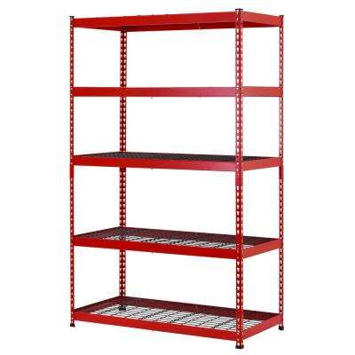 48 in. W x 78 in. H x 24 in. D Red/Black Steel 5-Shelf Garage Shelving Unit