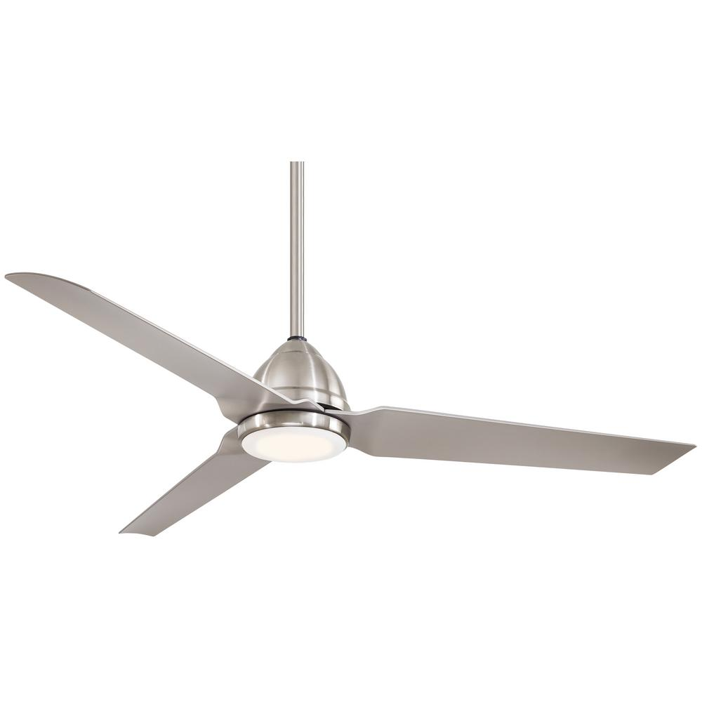 Minka-Aire Java 54 in. Integrated LED Indoor/Outdoor Brushed Nickel Wet Ceiling Fan with Light and Remote Control