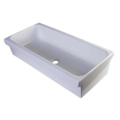7.1 in. Above Mount Under Mount or Semi Recessed Vessel Sink Basin in White