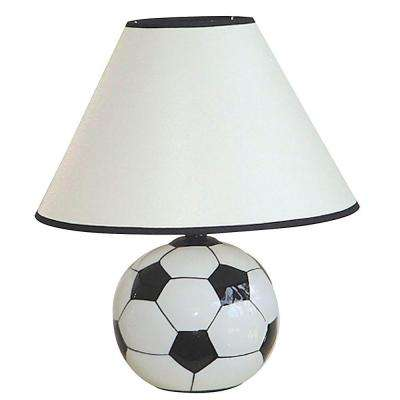 12 in. Ceramic Soccer Ball Black and White Table Lamp