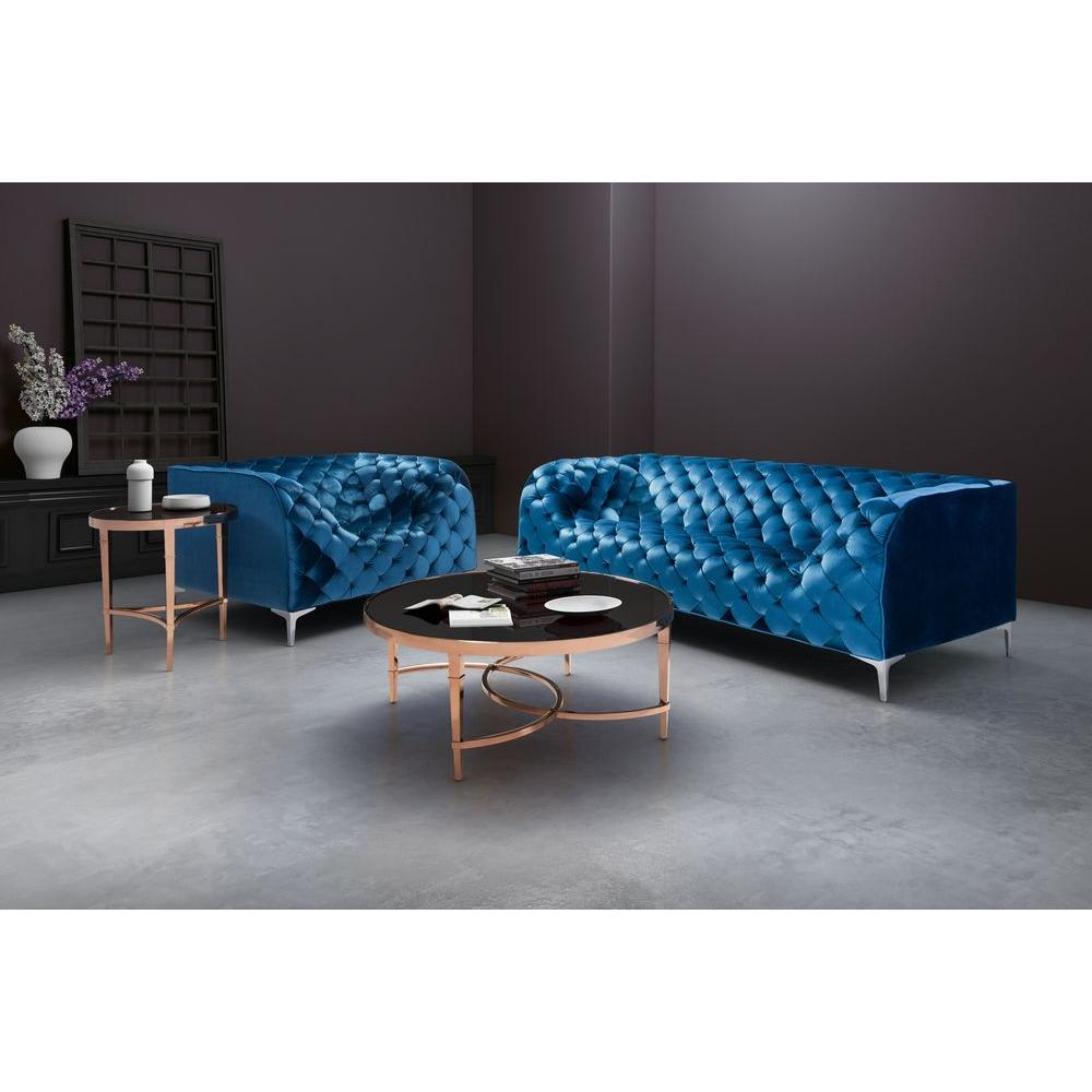 Zuo Providence Neon Blue Velvet Arm Chair 900279 The