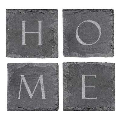 4 in. x 4 in. Home Sweet Home Slate Coasters