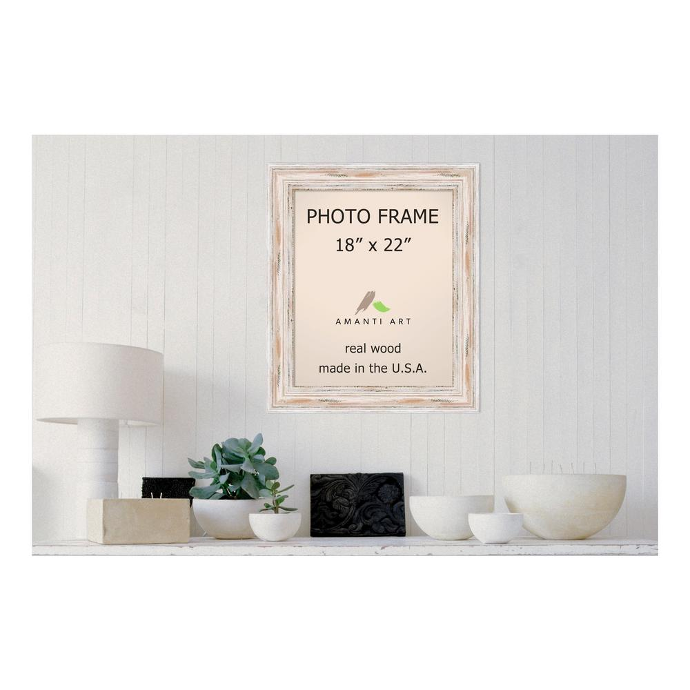 Amanti Art Alexandria 18 in. x 22 in. Whitewash Picture Frame ...
