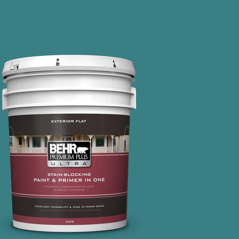 BEHR Premium Plus Ultra 5-gal. #510D-7 Pacific Sea Teal Flat Exterior Paint