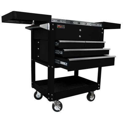 Professional 35 in. 4-Drawer Slide Top Service Utility Cart in Black
