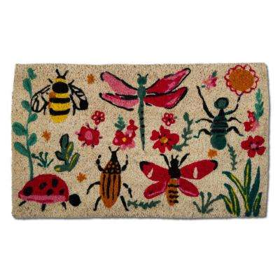 Love Bugs 18 in. x 30 in. Multicolor Coir Door Mat
