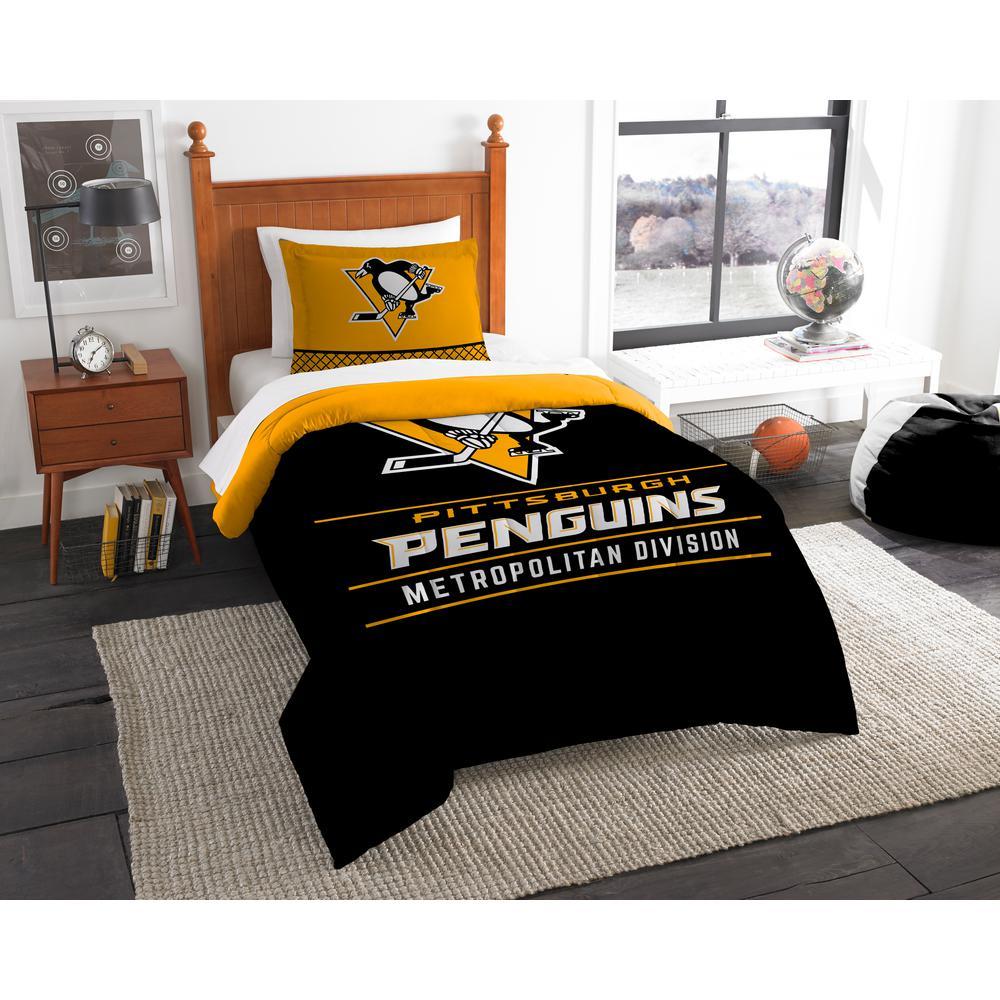 NHL Penguins Draft 2-Piece Multi-Color Polyester Twin Comforter Set ... 99fb0ff7d