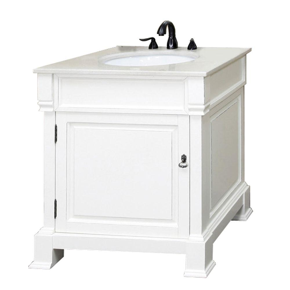 Bellaterra Home Olivia 30 in. W x 35-1/2 in. H Single Vanity in White with Marble Vanity Top in White